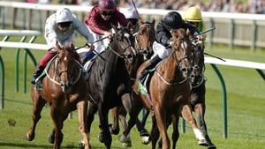 Shane Foley riding Millisle (black) to victory in the Cheveley Park