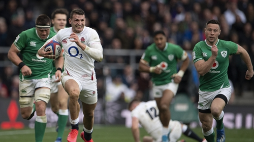 Jonny May of England sprints away during the 2020 Guinness Six Nations match against Ireland
