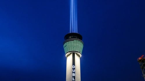 The air traffic control tower at Dublin Airport practises shining a light ahead of 9pm tonight Pic: Apphoto.ie