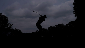Tiger Woods plays a shot during the final round of The 2019 Memorial Tournament