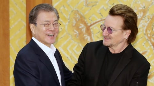 Bono met Moon Jae-in in December last year