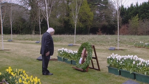 President Higgins laid a wreath to honour those who died