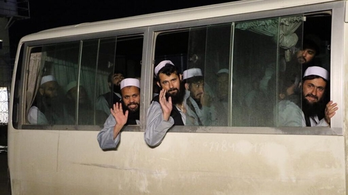 Afghan National Security Council handout shows Taliban prisoners after their release