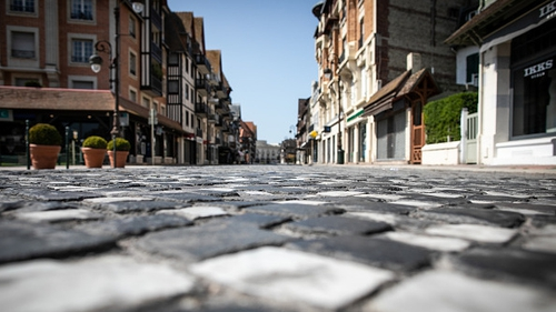 Empty streets in Deauville, in Normandy, on the twenty-eighth day of a lockdown in France
