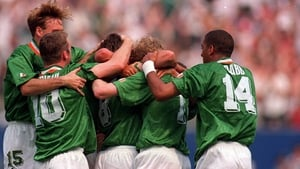 Ray Houghton is mobbed after scoring against Italy at USA '94