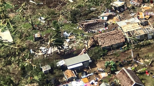 An undated handout photo made available by Save the Children shows an aerial view of damage caused by Tropical Cyclone Harold on Espiritu Santo Island, Vanuatu
