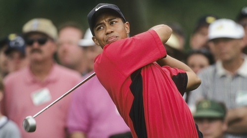 Tiger Woods during the final round of the 1997 Masters at Augusta.