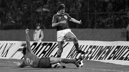 Steve Heighway in action against Belgium in a World Cup Qualifier at Heysel Stadium in 1981