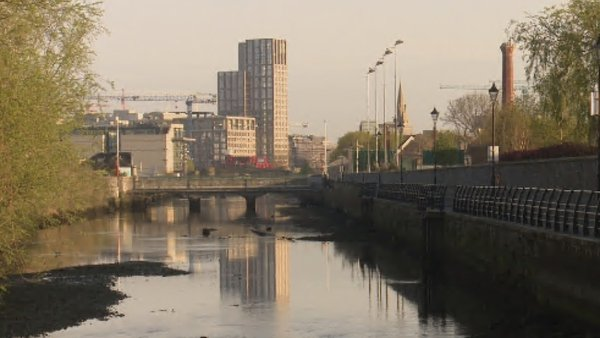 As the sun rises in Dublin, the city centre remains quiet as people are told to remain at home