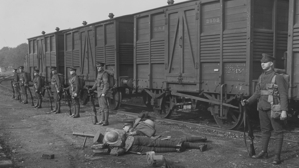 British soldiers guarding a train in Ireland, October 1920