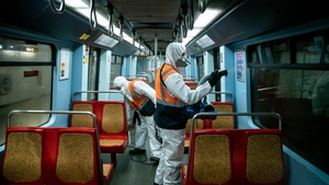A subway carriage is disinfected in Lisbon