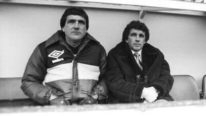 Hunter (L) in his time as Johnny Giles' assistant at West Brom