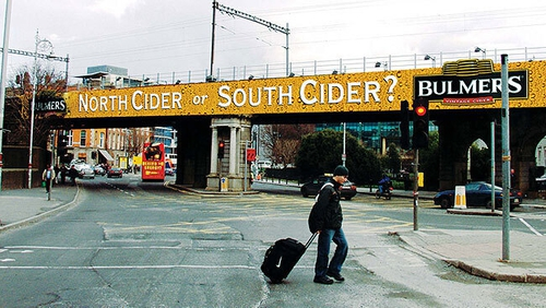 Bulmers' award-winning North Cider or South Cider? advert on Dublin's Loopline Bridge. Photo: Bulmers/Young Advertising/ICAD