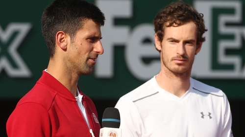 Novak Djokovic with Andy Murray after the Serbian had won the 2016 French Open