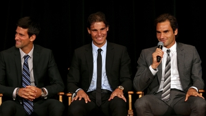 Left to right: Novak Djokovic, Rafael Nadal and Roger Federer.