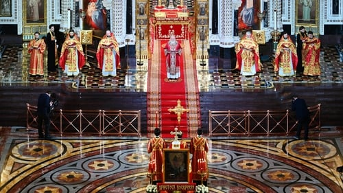 Patriarch Kirill of Moscow (C) taking part in the Orthodox Easter service in the Christ the Savior Cathedral in Moscow