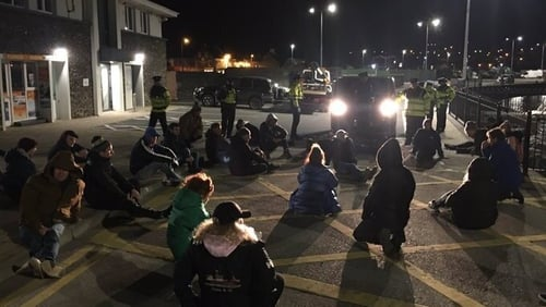 Up to 40 protesters mounted a blockade at the CoKerry port