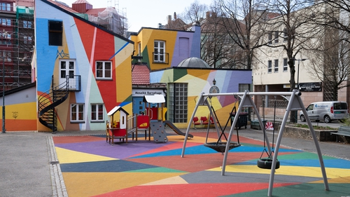 Playgrounds in Oslo, Norway have been empty since restrictions began on 12 March