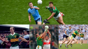 Top: Brian Fenton and Aidan O'Shea battle for possession. L-R: Jack O'Shea, John McDermott and Anthony Tohill; Ciarán Whelan and Darragh Ó Sé