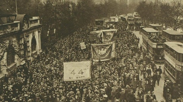 Activists march through the streets of London with banners, one of which reads '44 and no more' in relation to weekly working hours Photo: Illustrated London News [London, England], 18 May 1920