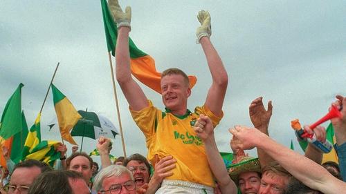 Declan Darcy is held aloft by delirious Leitrim fans
