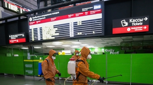 Ladozhsky railway station in St Petersburg is disinfected amid the ongoing Covid-19 pandemic