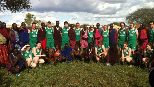 The Waterford Football Research Group pictured with a Maasai group