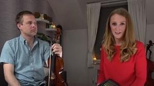Caitlín Nic Gabhann with fiddle player Ciarán Ó Maonaigh