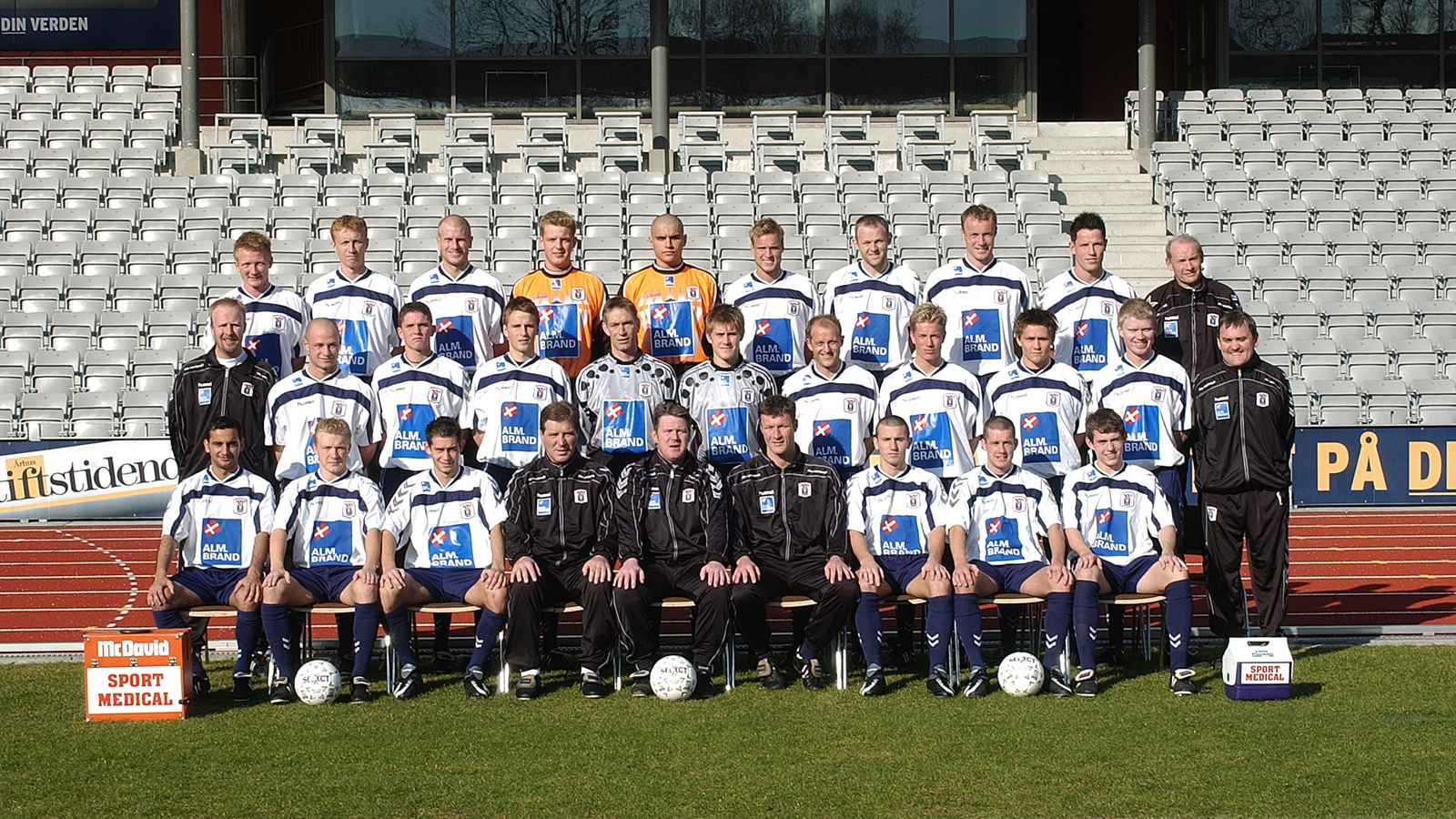 Image - The AGF Aarhus team photo from that season with Doyle and Miller sitting front row to the right. Pho