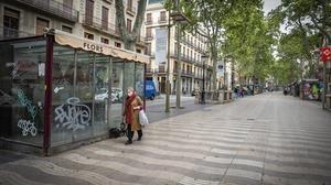 A near deserted street in Barcelona