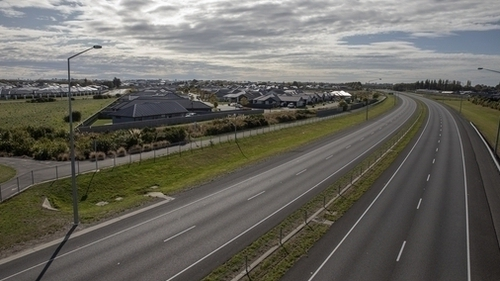 A deserted Southern Motorway in Christchurch, New Zealand