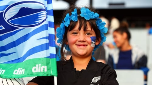 A young Auckland Blues fan during the Super Rugby clash with the Lions at Eden Park in March