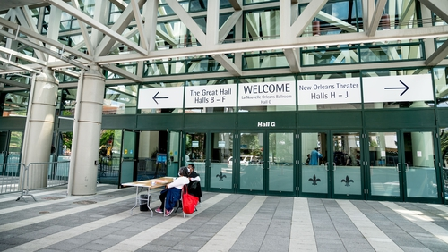 Health department staff in Louisiana, where70% of coronoavirus deaths have been among African Americans, atthe New Orleans Convention Center. Photo:Claire Bangser / AFPvia Getty Images