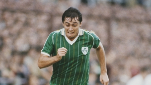 Robinson in action for Ireland against the Soviet Union in 1984