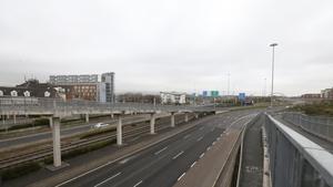 An empty M50 motorway devoid of traffic near the Red Cow junction in Dublin