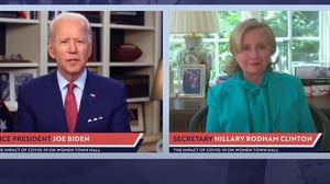 Joe Biden and Hillary Clinton took part in a live video linkup from their respective homes