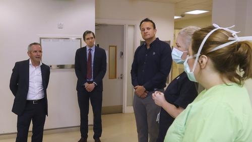 (L-R) Paul Reid, Simon Harris and Leo Varadkar at a Community Assessment Hub for Covid-19 patients