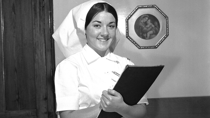 Nurse Leone Massey during the filming of a 'Discovery' in 1965