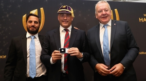 Felipe Contepomi with Bill Beaumont  and Agustin Pichot