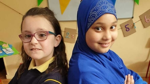 Ciara O'Shea and Mahek Hussain, from Presentation Primary School in Tralee