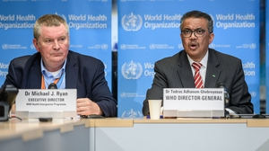 Dr Michael Ryan and Dr Tedros Adhanom Ghebreyesus of the World Health Organization