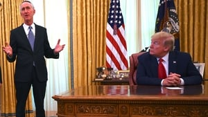 Gillead Sciences CEO Daniel O'Day speaks during a meeting with US President Donald Trump in the Oval Office of the White House