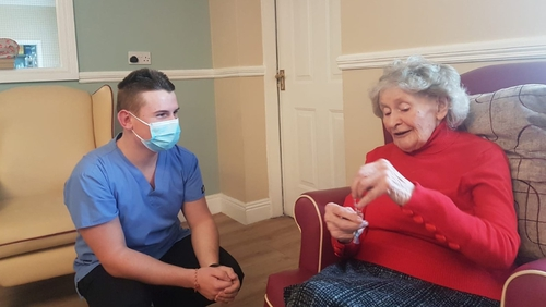 Ian McDonagh with Bushfield Nursing Home resident Mary Kate Connors