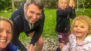 RTÉ Sport presenter Jacqui Hurley and family take some time out in the garden