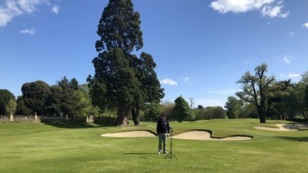 Course director Tom Ryan chats to RTÉ at Elm Park Golf Club in Donnybrook, Dublin