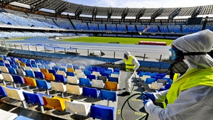 Sanitisation at the San Paolo stadium in Naples in March