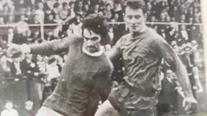 Noel Griffin with the unenviable task of marking George Best in the European Cup at Lansdowne Road in 1968 (image: Facebook/Gemma Griffin)