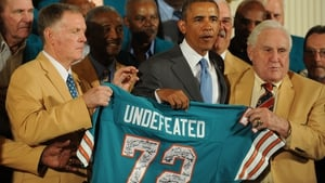 Don Shula and his invincible team of 1972 pictured with President Barack Obama