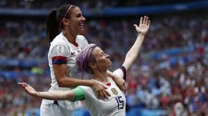 Megan Rapinoe (R) and Alex Morgan led the US to World Cup glory in France last year