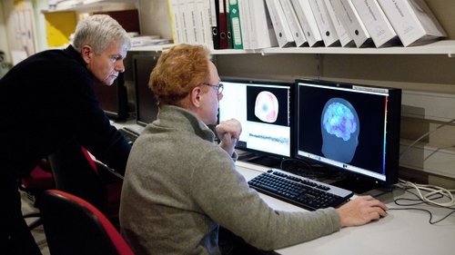 Researchers at the Pitie Salpetriere hospital in Paris, France using the Magnetoencephalography (MEG) platform to detch variations in the brain's magnetic field during various types of activity. Photo: BSIP/Universal Images Group via Getty Images